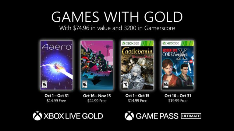 New Games with Gold for October 2021
