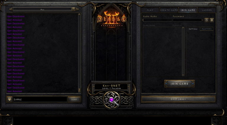 Diablo 2 Gem Activated and what does the Chat Gem do