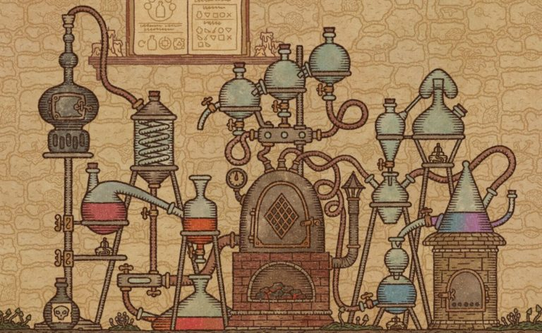 Grind the herbs yourself in alchemy simulator Potion Craft