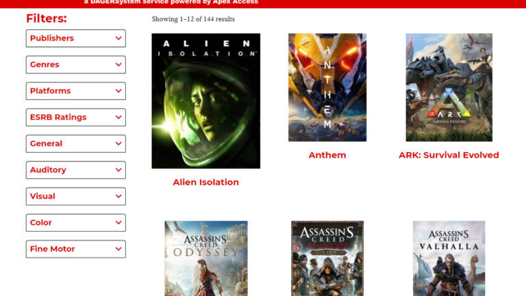 New Database Catalogues Games By Their Accessibility Features