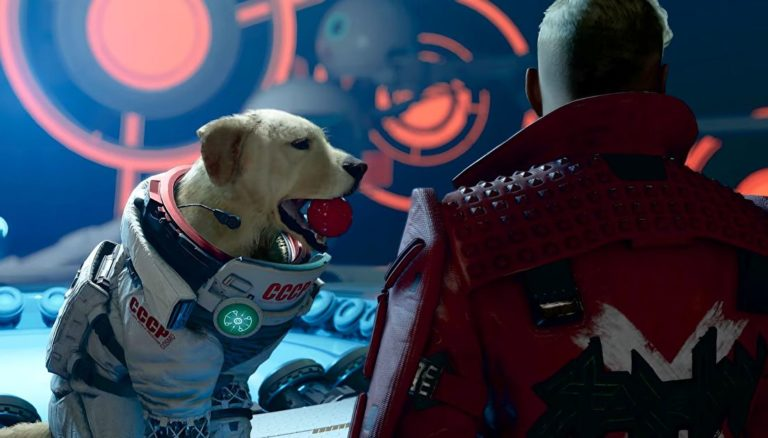 Watch Cosmo the space dog fetch and chase his tail in this Marvel's Guardians of the Galaxy cutscene